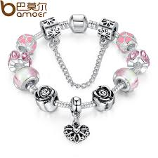 4colors original 925 silver pink heart charm fit pandora bracelet with safety chain for women authentic jewelry pa1435