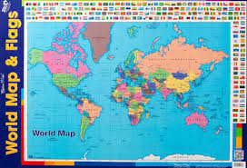 Chart World Map With Flags Double Sided