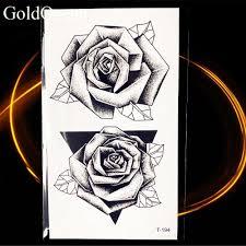 купить оптом 3d черный треугольник роза листьев перо временные татуировки
