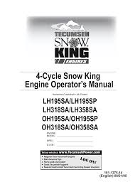 Tecumseh SNOW KING LH195SA User Manual   32 pages   Also for: SNOW ...