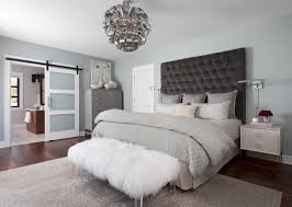 Glamorous Black Tufted Headboard And White Fur Bench For Calming Bedroom  Ideas With Silvery Grey Wall Color