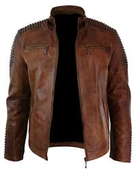 men s biker vintage style cafe racer wax distressed brown leather jacket bnwt