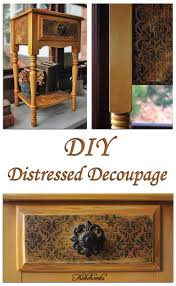 diy tutorial antiquing wood. Beautiful Tutorial DistressedDecoupageTableFeatureThicketworks On Diy Tutorial Antiquing Wood