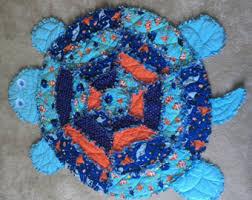 Turtle rag quilt & Sea Turtle Rag Quilt - Light Aqua Adamdwight.com