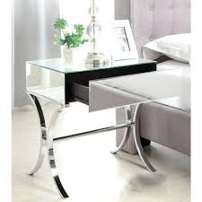 mirrored end tables bedroom mirrored bedside table with chrome stand single drawer within glass bedroom side mirrored end tables