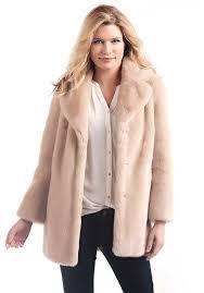 blush mink notch collar faux fur coat 1