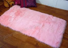 rugs supermarket soft pink faux fur oblong rectangle sheepskin rug 70 x 140 cm washable jle9y2
