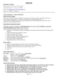 Piping Designer Resume Sample Interesting Rajesh Bhau Utekar CV