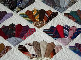 Close up of the Men's tie quilt.   Quilting~ I'd like to Make One ... & Neck Tie Quilt in fan pattern Adamdwight.com