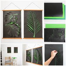 on green wall art decor with wonderful diy paper leaf wall art decoration