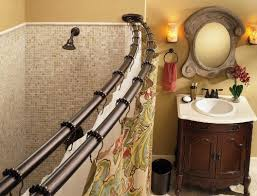 the curved double shower rod not only gives you some extra space in the shower but also gives an elegant vibe as well