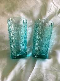blue glass tumblers australia six