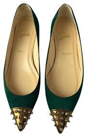 size 39 in us women provide women christian louboutin green geo spikes suede ballet