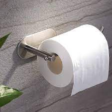 Amazon Com Yigii Adhesive Toilet Paper Holder Mst001 Self Adhesive Toilet Roll Holder For Bathroom Kitchen Stick On Wall Stainless Steel Brushed Home Kitchen