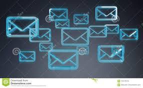 Digital Blue Floating Emails 3d Rendering Stock Illustration