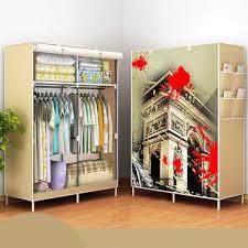 170x105x45cm portable clothes closet canvas wardrobe storage organizer steel frame s color 04