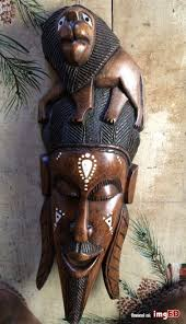 african tribal mask wood hand carved inlaid design wall decor lion 25 vintage