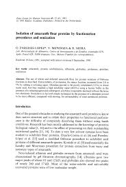 pdf isolation of amaranth flour proteins by fractionation procedures and sonication