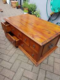 captain s chest coffee table made from solid wood cd dvd storage