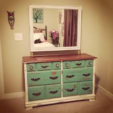 Bedroom Furniture Dresser White Brown Turquoise Wooden Dresser Mirror Diy Chalkpaint