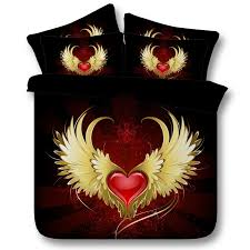 hipster red black and gold heart shaped wing print abstract design trendy and fancy twin full queen king size bedding sets