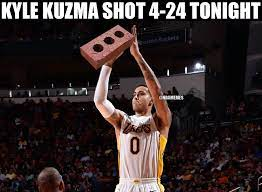 Find and save images from the kyle kuzma collection by randomruata (_randomruata) on we heart it, your everyday app to get lost in what you love. Nba Memes Kyle Kuzma Shot Just 16 6 Vs The Grizzlies Facebook