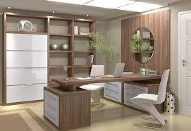 home office decor brown. Office : Luxury Home Decor With Textured Wood Brown Computer Desk And White Antique Work Chair Also Plaid Wall Storage Added Round Glass Mirror S