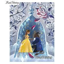 realshining 5d diy diamond embroidery beauty beast fairy full square diamond painting cross stitch rhinestone mosaic