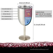 stainless steel wine glasses with lid 10oz novelty double wall vacuum sealed insulated tumblers wine goblet