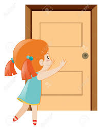 open and closed door clipart. Little Girl Pushing The Door Open Illustration And Closed Clipart