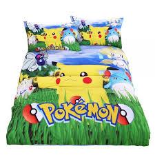 pokemon bedding set pikachu printed duvet cover cartoon for kids bed set comfortable multi sizes 3pcs