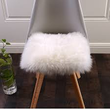 100 new zealand sheepskin square shaped fur seat pad 50cm round genuine natural white