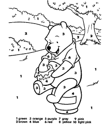 Small Picture Online Color By Number Numbers Coloring Pages Pooh With Hunny 02