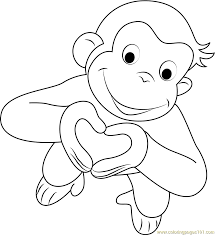 Curious George Coloring Pages Curious George Valentine Coloring