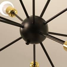 round sputnik 12 arm gold and black metal chandelier light fixture high designer