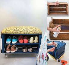 fruit crate shoe bench collage