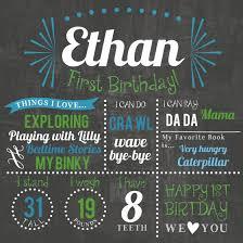 happy first birthday chalkboard sign