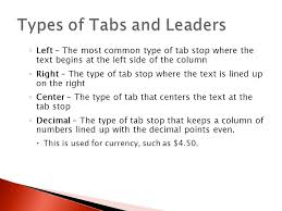 type of tab word lesson 5 part 1and 2 paragraph alignment indents alignment