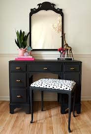 black and gold vanity set with polkadot seat so cute