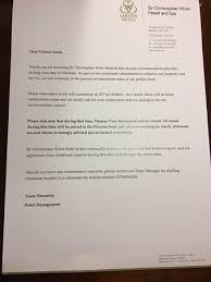 Letter Asking Us To Be Understanding About Renovations