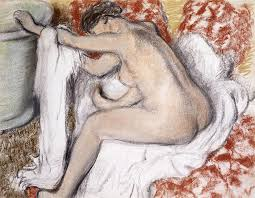 19th century painting after the bath woman drying herself by edgar degas