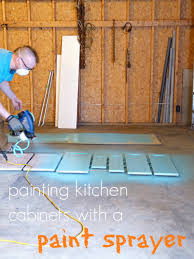 Painting Kitchen Unit Doors Painting The Kitchen Cabinets With A Paint Sprayer Dans Le Lakehouse