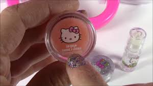 o kitty makeup vanity case light up mirror brushes nails lip gloss body glitter beauty review