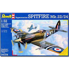 spitfire model plane. revell supermarine spitfire mk.22/24 1:32 aircraft model kit - 04704 plane