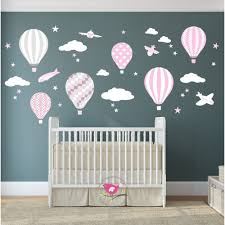 hot air balloon jets nursery wall stickers baby pink grey white cute wall wall sticker for