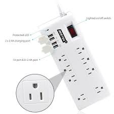 bestek power strip surge protector 8 sockets 7 5a 4 port usb extension socket plug wall mount
