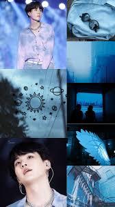 Light Blue Bts Bts Suga Light Blue And Black Aesthetic Lockscreen Bts