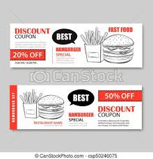 Fast Food Gift Voucher And Coupon Sale Discount Template Flat Design Vector Set Of Hamburger French Fries Hand Drawn Background