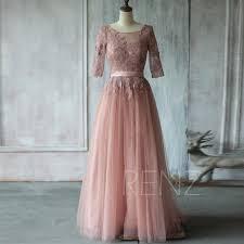 2015 dusty rose bridesmaid dress a line mesh wedding dress lace