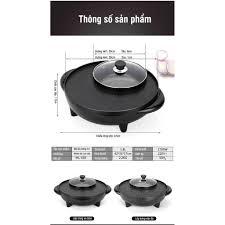 Nồi Lẩu Điện Bếp Nướng Đa Năng Mini 2 In 1 - Vừa Nấu Lẩu Vừa Nướng - Nồi lẩu  điện